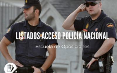 Listados provisionales acceso al cuerpo de Policía Nacional