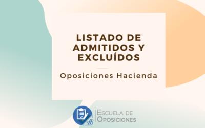 Admitidos y excluidos Auxiliar de Administración e Información de Hacienda