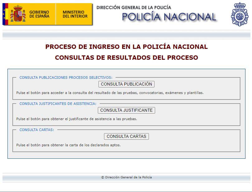 Pruebas acceso Policía Nacional