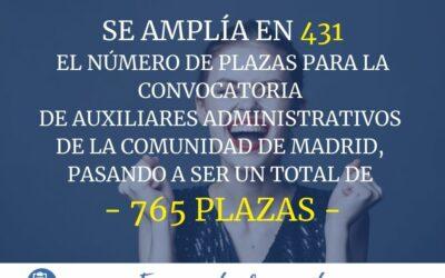 Se amplia el número de plazas de Auxiliar Administrativo de la Comunidad de Madrid